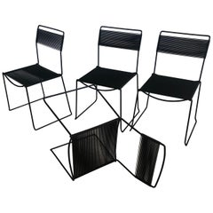 Spaghetti Side Chairs in Black by Giandomenico Belotti, Set of Four Chairs