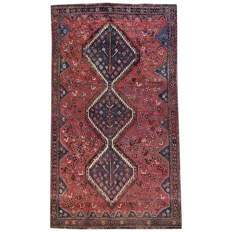 Persian Hand-Knotted Repeated Medallion Red Shiraz Bird Motif Rug
