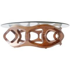 Contemporary Handcrafted Solid Tzalam Wood Geometric Toro G6 Coffee Table