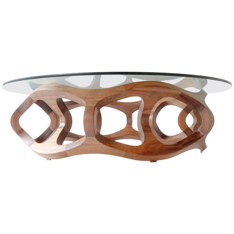"""Toro G6"" Contemporary Coffee Table, Handcrafted in Geometric Tzalam Hardwood  For Sale"