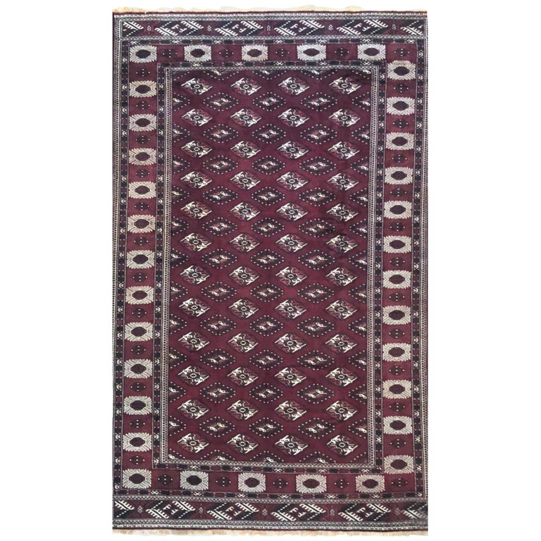 Hand-Knotted Burgundy All-Over Persian Turkoman Rug, 1960