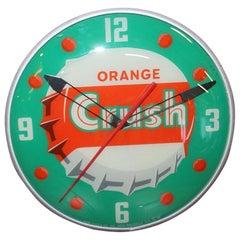 1956 Orange Crush Soda Advertising Glass PAM Clock