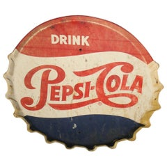 1950s Pepsi-Cola Soda Button Bottle Cap Advertising Metal Sign