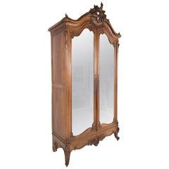 19th Century Walnut Louis XV Style Armoire