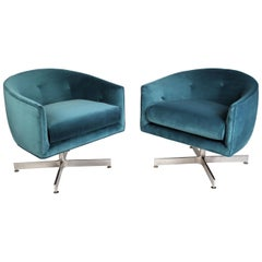 Milo Baughman Commercial Grade Tilt and Swivel Lounge Chairs for Thayer Coggin