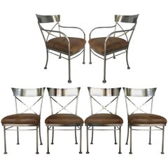 Italianate Steel & Brass Dining Chairs by the Design Institute of America (DIA)