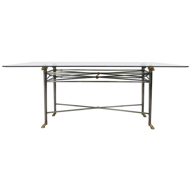 Italianate DIA Steel and Brass Dining Table with Ram's Heads and Hoof Feet