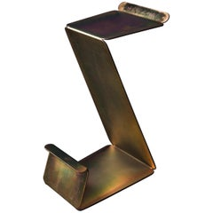 Fe Counter Height Zig-Zag Stool in Zinc Plated Steel by Mtharu