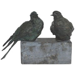 Bronze Animalier Sculpture of Two Birds resting on a Granite Base