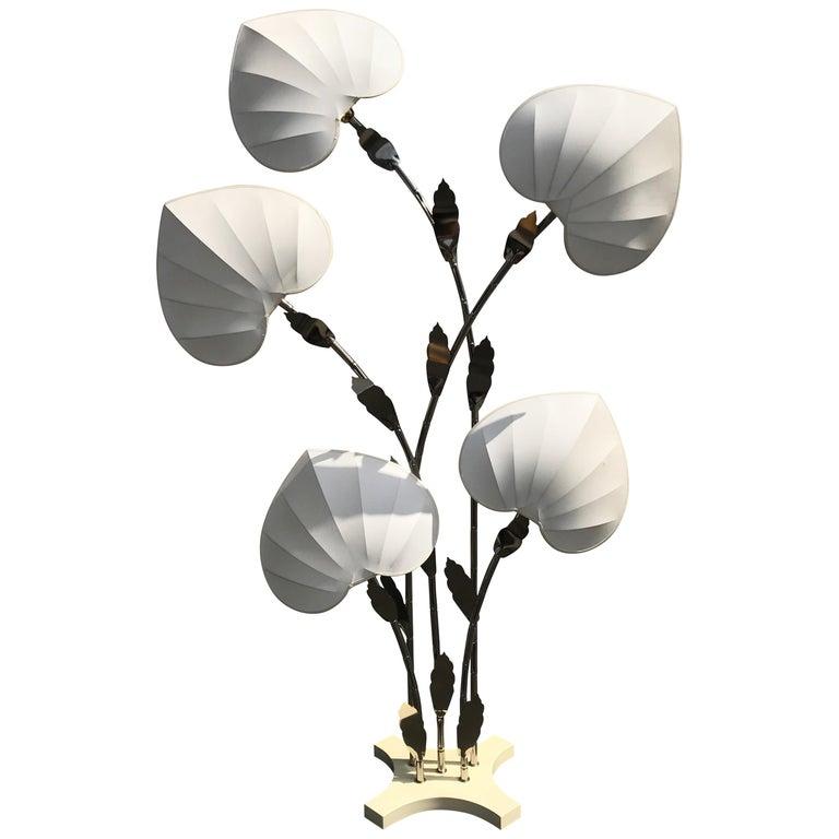 Antonio Pavia Brass Bamboo Lamp with Leaf Motif Shades