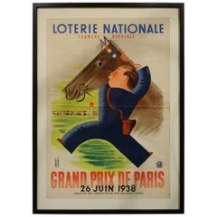 Framed Vintage Poster, French National Lottery, 1938-1944