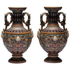 Pair of Renaissance-Style Majolica, England Vases