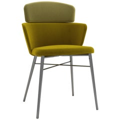 Baleri Italia Kin Chair in Green Fabric with Mini Armrests by Radice Orlandini