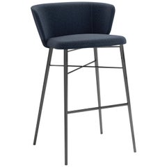 Baleri Italia Large Kin Bar Stool in Blue Fabric by Radice Orlandini