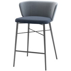 Baleri Italia Small Kin Bar Stool in Blue Fabric by Radice Orlandini