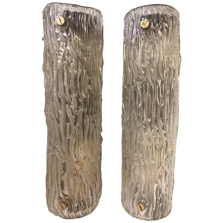 Pair of Large Italian Midcentury Murano Glass Sconces, Carlo Scarpa for Venini For Sale