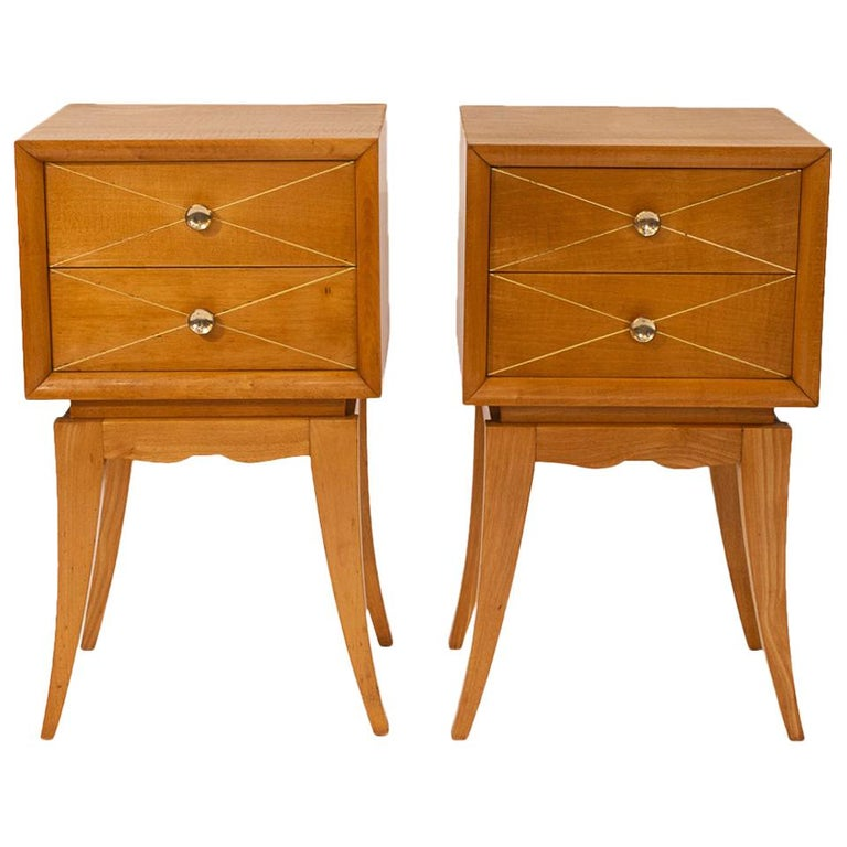 Pair of Nightstands by Suzanne Guiguichon, Wood, circa 1970, France