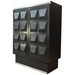 Oak Brutalist Two-Door Cabinet, circa 1970