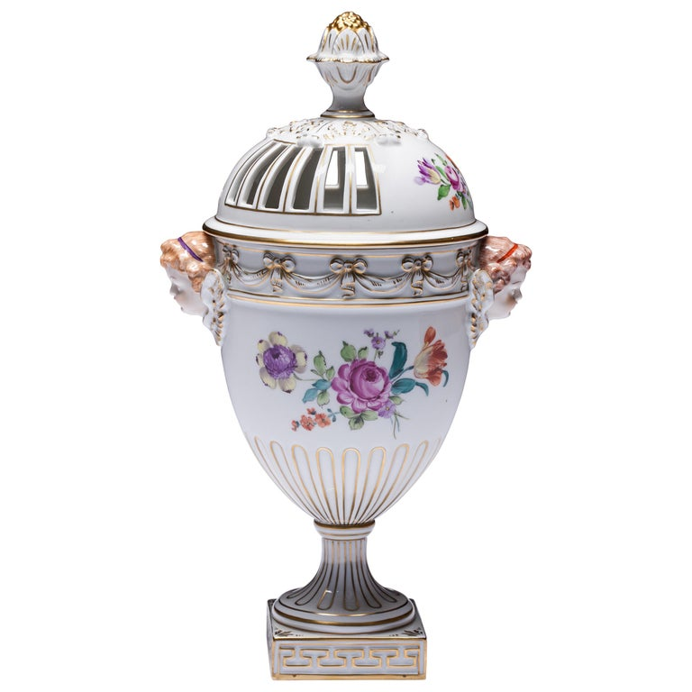 Carl Thieme Dresden Pot Pourri Vase Mithological Head Handles Urn Porcelain For Sale