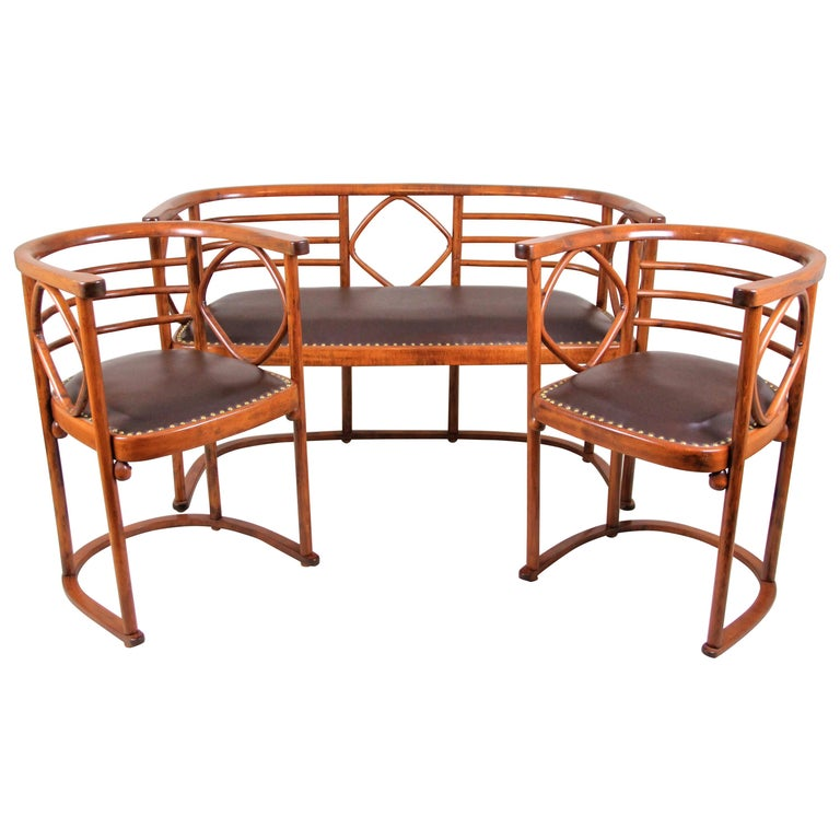 Bentwood Seating Set Attributed to Thonet/ Josef Hoffmann, Austria, circa 1910 For Sale
