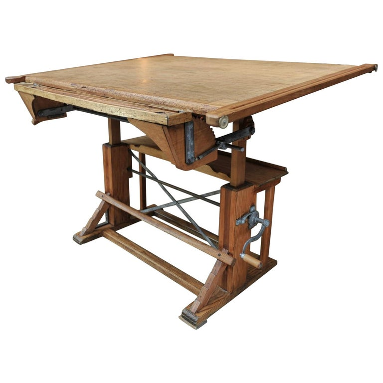 Adjustable Architect's Drafting Table or Writing Desk, circa 1920s