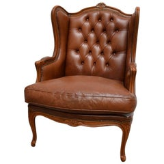 Baroque Chesterfield High Back Chair / Wingchair in Well Kept Original State