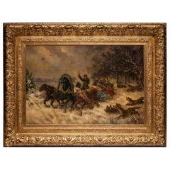 Oil on Canvas Signed Eduard Götzelmann, Trineo