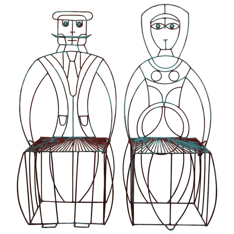 Pair of Figural His and Hers Steel Wire Patio Chairs by John Risley