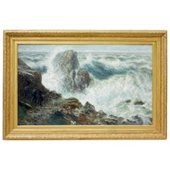 Early 20th Century Oil on Canvas 'Storm on a Scottish Coast' by Thomas Hemy