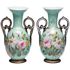 Pair of Paris Porcelain Botanical Vases, Mid-19th Century, 1850-1860, France