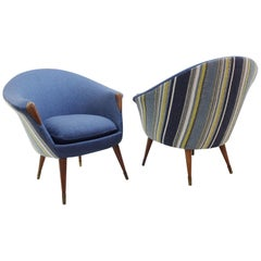Brass and Teak Danish Armchairs attributed to Nanna Ditzel, New Upholstery