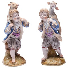 Pair of Meissen Porcelain Figurines, Boy Carrying Goat