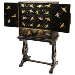 19th Century Black Lacquer Cabinet on Stand, Meiji Period, Japan