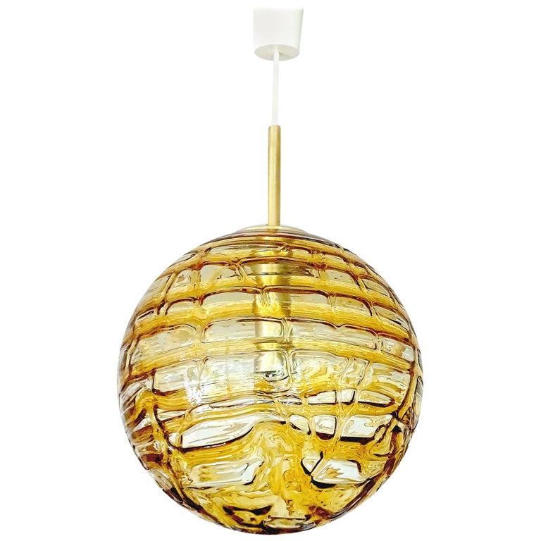 Large MidCentury Doria Murano Glass Globe Brass Pendant Chandelier
