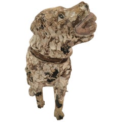 Charming Carved Wood Rustic Dog Sculpture from Bakery Display