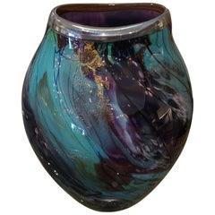 Glistening Blown Glass One of a Kind Artisan Vase