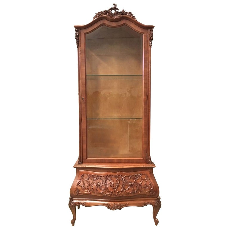 19th Century Dutch Burl Walnut and Carved Cabinet with Glass Door and Drawer