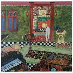 Wonderfully Musical Interior Painting of Nude Flutist