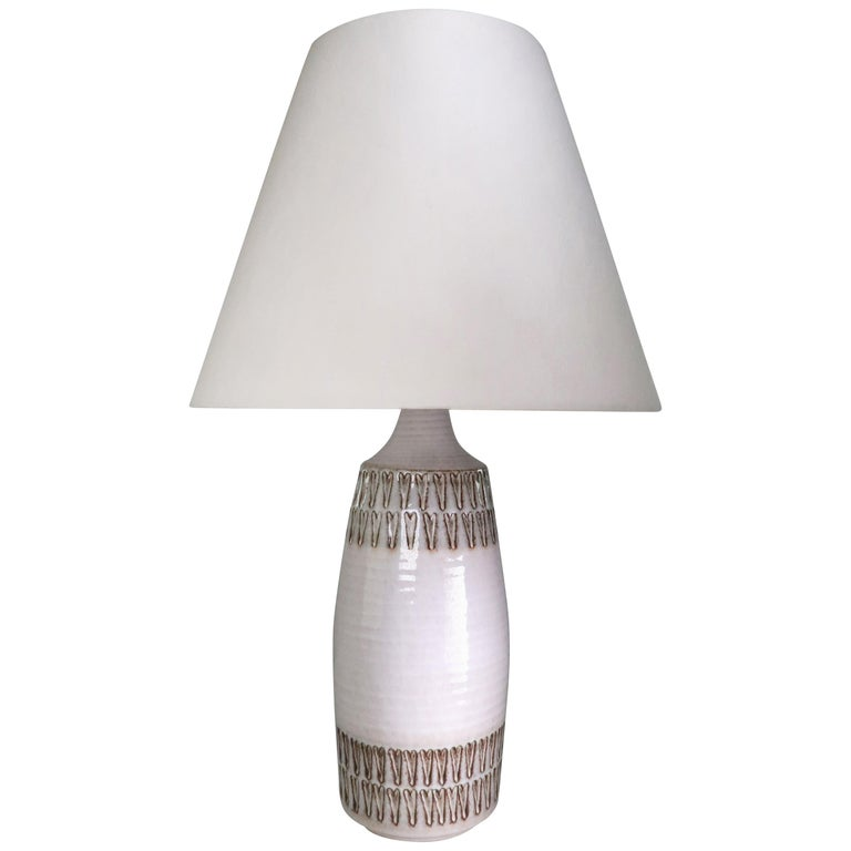 Tall Iconic Danish Modern White, Grey Ceramic Table Lamp by Soholm, 1960s For Sale
