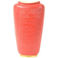 Red Color Glazed Vase Made in Germany, 1970s