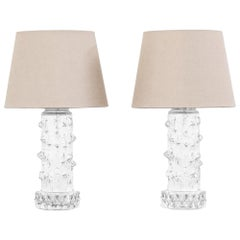 Pair of Midcentury Scandinavian Clear Glass Table Lamps