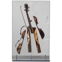 Fernandez Arman, Sculpture Sliced Bronze Violin in Multiple Plexiglas, 42/99