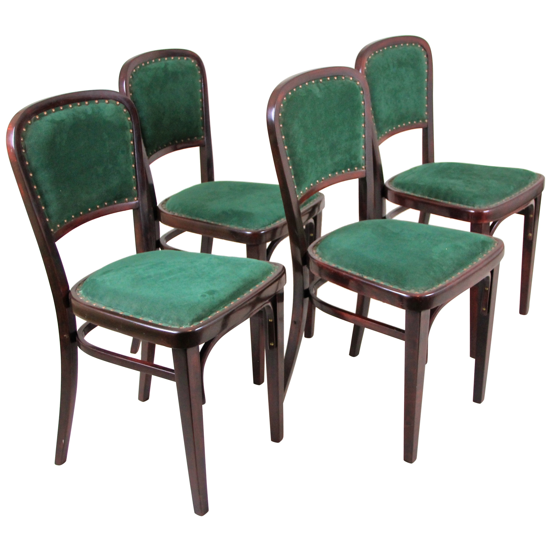 Set of Four Thonet Art Nouveau Chairs by M. Kammerer, Austria, circa 1910