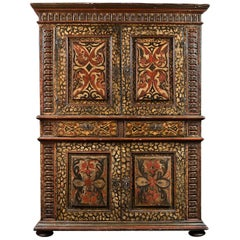 17th Century Portuguese Polychrome Display Cabinet