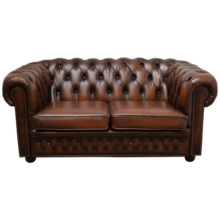 Original English Chesterfield Sofa Two Seat in Leather Tobacco Tan