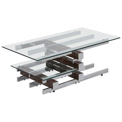 Vintage Glass and Chrome Coffee Table