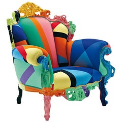 Proust Geometrica Armchair with Wooden Frame, Alessandro Mendini for Cappellini
