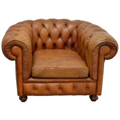 Vintage Delta Chesterfield Chair in Cognac Leather