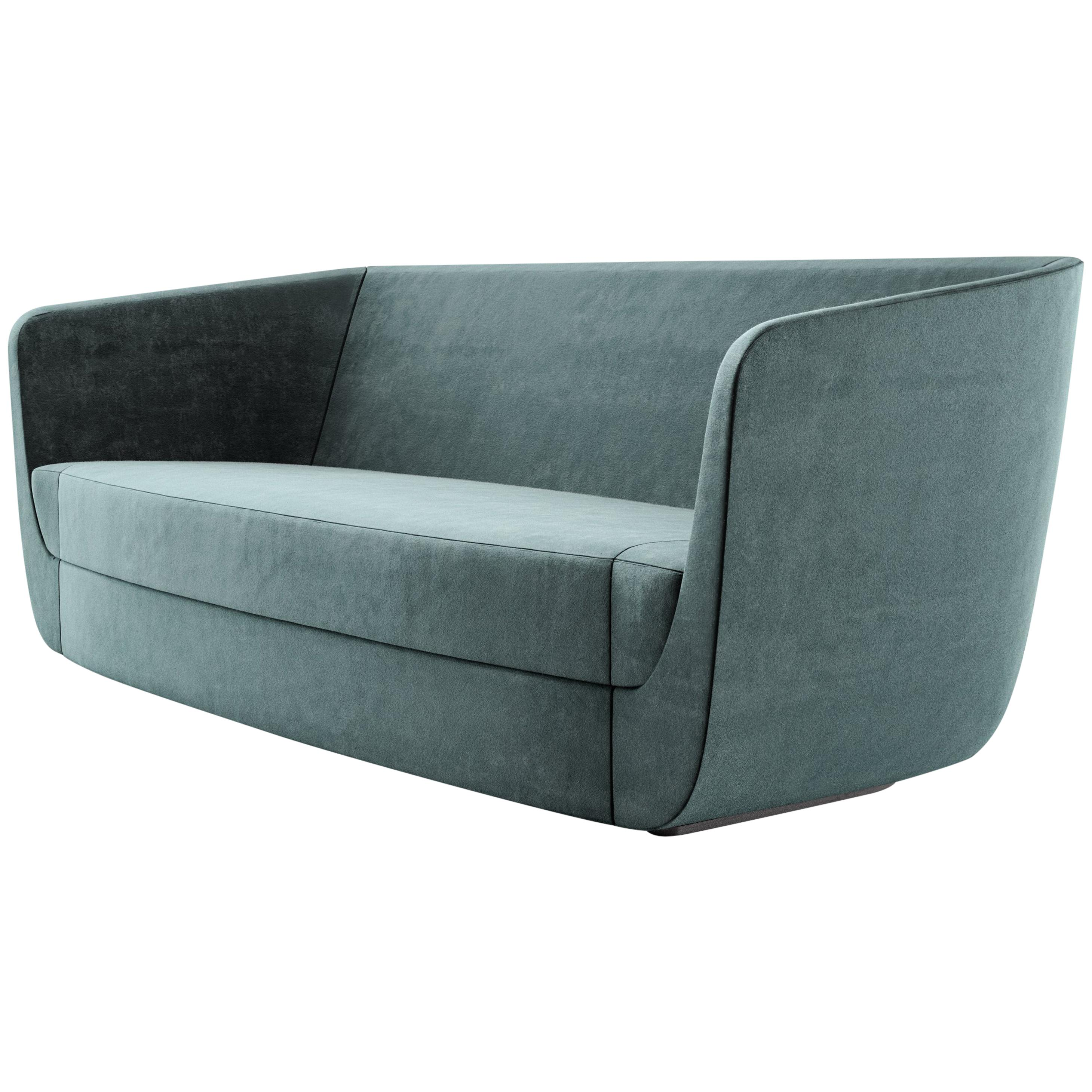 Clasp Modern Sofa, A Contemporary Three Seat Upholstered In Holly Hunt  Velvet For Sale