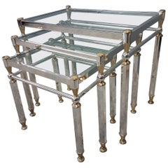 Silvered and Gilt Brass Nesting Tables with Glass Shelves, Set of Three, 1980s